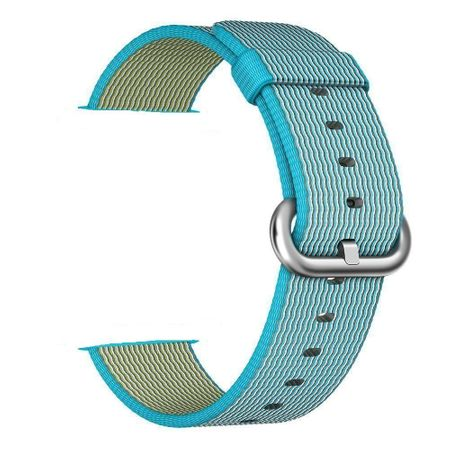 Apple Watch 42mm Series 1 / 2 / 3 Nylon Stoff Armband Schnalle mit Dorn BLAU Skyblue – Bild 1
