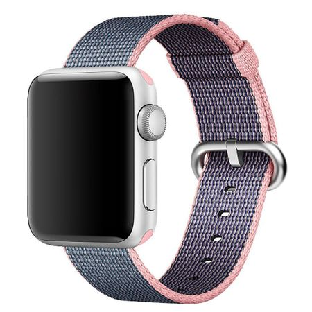 Apple Watch 42mm Series 1 / 2 / 3 Nylon Stoff Armband Schnalle mit Dorn PINK BLAU – Bild 2