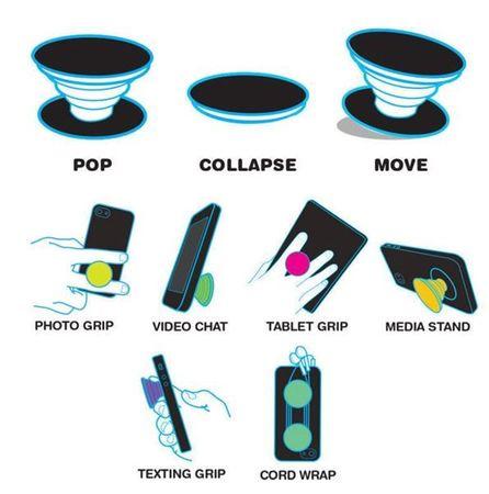 Popsocket Finger Halterung für Handy ähnlich wie Popsocket Blume Peace Sky BLAU/SCHWARZ – Bild 6