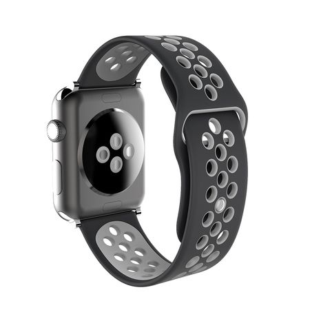 Apple Watch 38mm Series 1 / 2 / 3 S / M Silikon Sport Armband Strap SCHWARZ GRAU – Bild 6