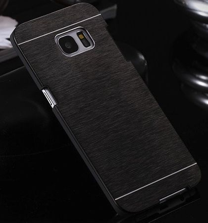 Samsung Galaxy S7 Edge Brushed Aluminium Metall Look Hard Case SCHWARZ – Bild 2