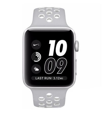 Apple Watch 38mm Series 1 / 2 / 3 S / M Silikon Sport Armband Strap GRAU WEISS – Bild 5