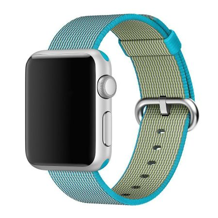 Apple Watch 38mm Series 1 / 2 / 3 Nylon Stoff Armband Schnalle mit Dorn BLAU Skyblue – Bild 2