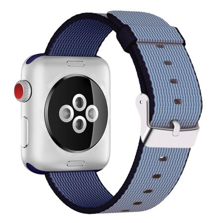 Apple Watch 38mm Series 1 / 2 / 3 Nylon Stoff Armband Schnalle mit Dorn BLAU Navyblue – Bild 1