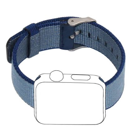 Apple Watch 38mm Series 1 / 2 / 3 Nylon Stoff Armband Schnalle mit Dorn BLAU Navyblue – Bild 2