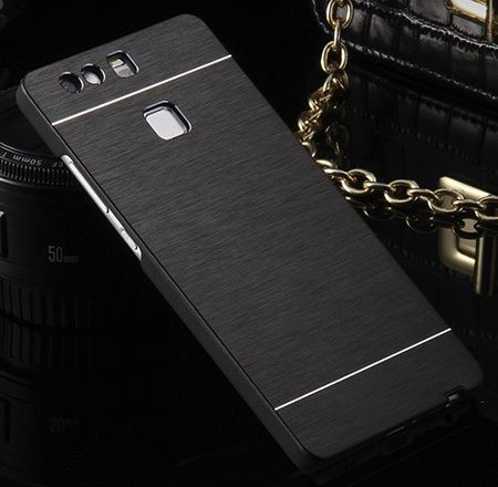 Huawei P9 Plus Brushed Aluminium Metall Look Hard Case SCHWARZ – Bild 2