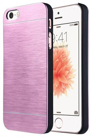 iPhone SE / 5S / 5 Brushed Aluminium Metall Look Hard Case PINK – Bild 1
