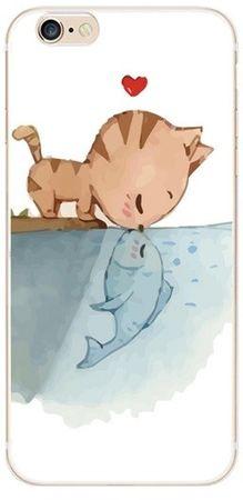 iPhone 6S / 6 Katze küsst Fisch Gummi TPU Silikon Case