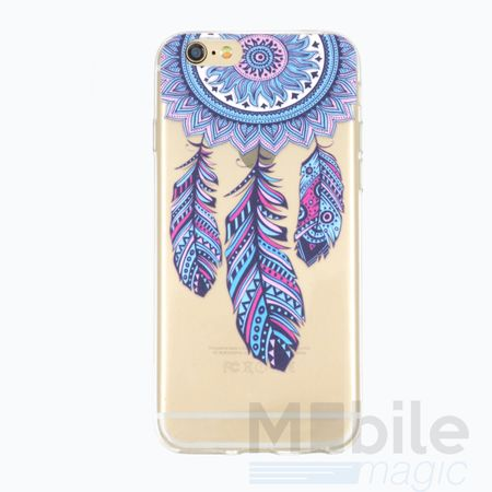 iPhone 6S / 6 Traumfänger Dreamcatcher BLAU Gummi TPU Silikon Case TRANSPARENT – Bild 1