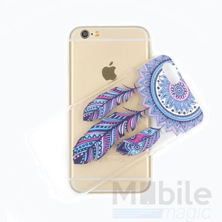 iPhone 6S / 6 Traumfänger Dreamcatcher BLAU Gummi TPU Silikon Case TRANSPARENT – Bild 3