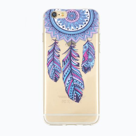 iPhone 6S Plus / 6 Plus Traumfänger Dreamcatcher BLAU Gummi TPU Silikon Case TRANSPARENT – Bild 1