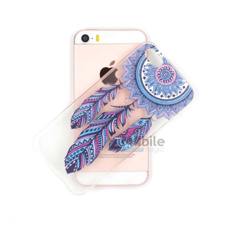 iPhone SE / 5S / 5 Traumfänger Dreamcatcher BLAU Gummi TPU Silikon Case TRANSPARENT – Bild 3
