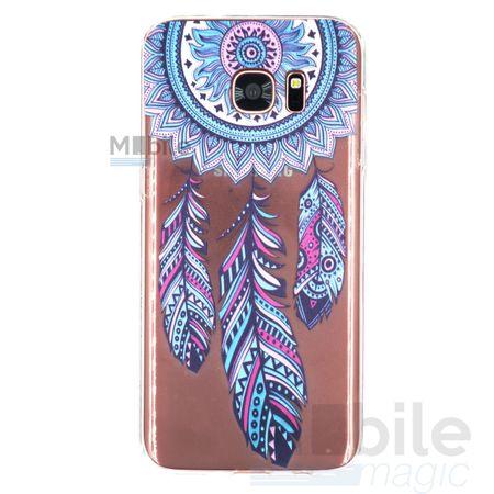 Samsung Galaxy S7 Traumfänger Dreamcatcher BLAU Gummi TPU Silikon Case TRANSPARENT – Bild 1