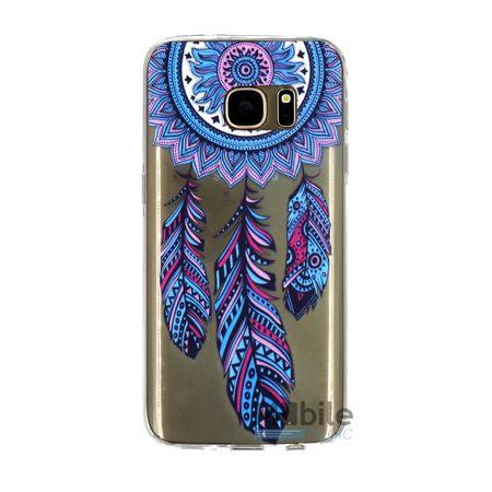 Samsung Galaxy S7 Edge Traumfänger Dreamcatcher BLAU Gummi TPU Silikon Case TRANSPARENT – Bild 1
