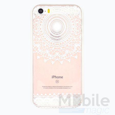 iPhone SE / 5S / 5 Henna Mandala Gummi TPU Silikon Case TRANSPARENT – Bild 1