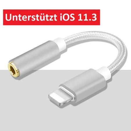 Lightning zu 3.5mm Audio AUX Kopfhörer Adapter Kabel Metall iOS 11.3 SILBER – Bild 1