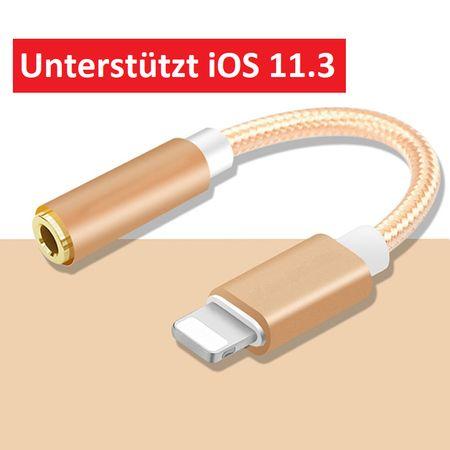 Lightning zu 3.5mm Audio AUX Kopfhörer Adapter Kabel Metall iOS 11.3 GOLD – Bild 1
