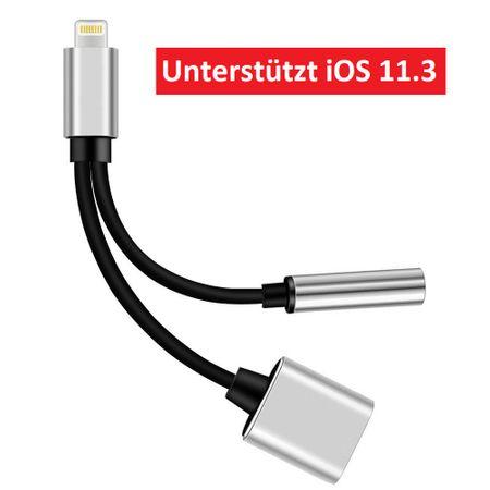 Lightning zu 3.5mm Audio + Lightning Kopfhörer Adapter Kabel iOS 11.3 SILBER – Bild 1