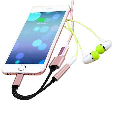 Lightning zu 3.5mm Audio + Lightning Kopfhörer Adapter Kabel iOS 11.3 ROSÉGOLD – Bild 3