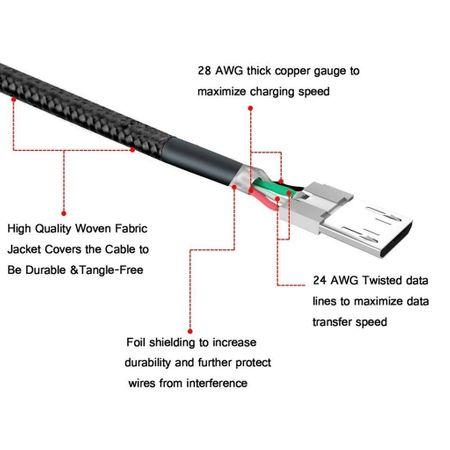MicroUSB Ladekabel Micro USB Datenkabel 30cm Stoffummantelung für Android SILBER – Bild 4