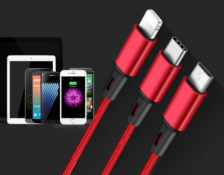 3 in 1 Lightning MicroUSB USB Type-C Stoff Ladekabel USB iPhone Android Daten Kabel ROT – Bild 3