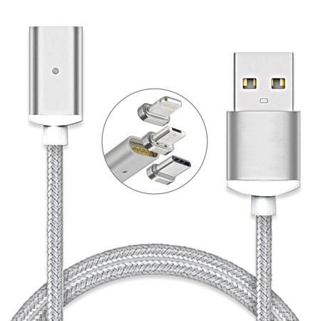 3in1 Magnet Kabel Lightning MicroUSB USB Typ C Metall Ladekabel iOS 11.3 SILBER – Bild 2