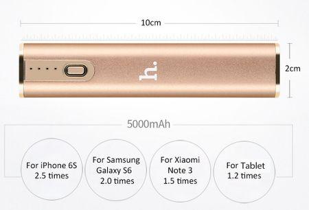 HOCO 5000mAh USB Powerbank Alu Externer Zusatz-Akku Batterie 2.1A Ladegerät GOLD – Bild 6