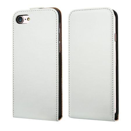 iPhone 8 Plus Leder Flip Case Cover Etui Tasche Vertikal Hülle WEISS – Bild 1