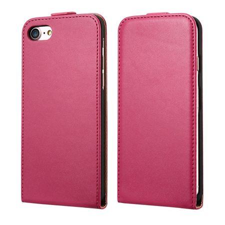 iPhone 8 Plus Leder Flip Case Cover Etui Tasche Vertikal Hülle PINK – Bild 1
