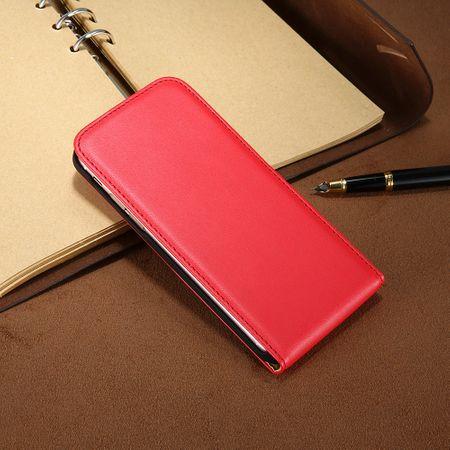 iPhone 8 Plus Leder Flip Case Cover Etui Tasche Vertikal Hülle ROT – Bild 3
