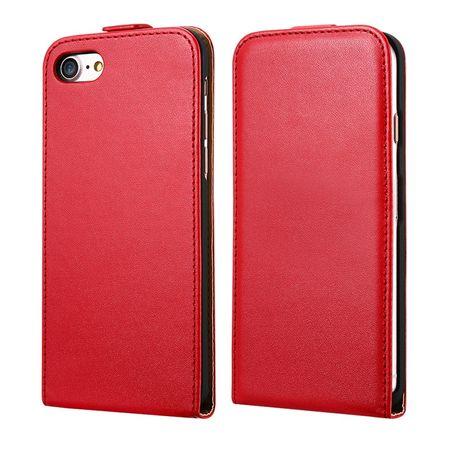 iPhone 8 Plus Leder Flip Case Cover Etui Tasche Vertikal Hülle ROT – Bild 1