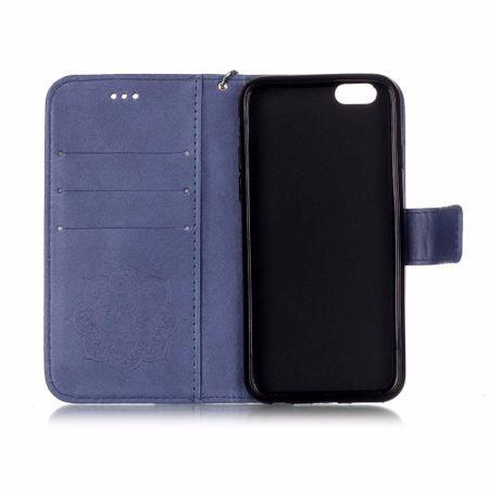 iPhone 8 Plus Traumfänger Leder Etui Glitzer Tasche Hülle BLAU – Bild 3