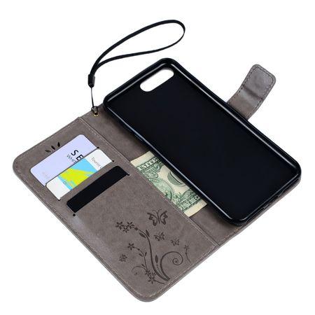 iPhone 8 Plus Leder Etui Blume Schmetterling Hülle Flip Case Cover GRAU – Bild 4