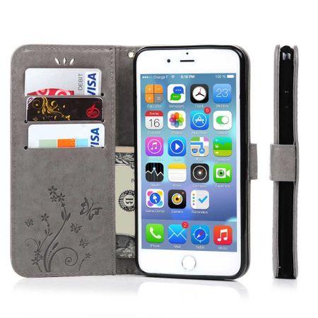 iPhone 8 Plus Leder Etui Blume Schmetterling Hülle Flip Case Cover GRAU – Bild 5