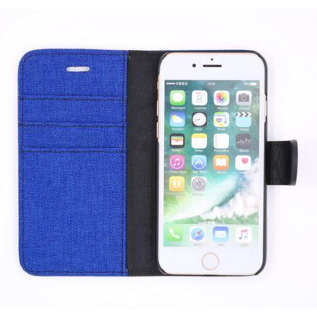 iPhone 8 Plus Stoff Leder Hülle Etui Flipcase Cover Case Tasche Canvas Kartenfach BLAU – Bild 3