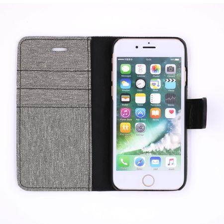 iPhone 8 Plus Stoff Leder Hülle Etui Flipcase Cover Case Tasche Canvas Kartenfach GRAU – Bild 3