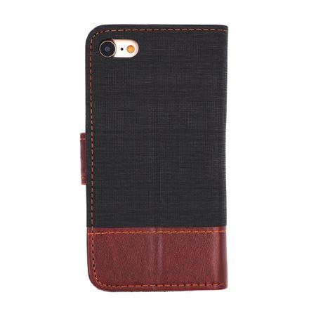 iPhone 8 Plus Stoff Leder Hülle Etui Flipcase Cover Case Tasche Canvas Kartenfach GRAU / BRAUN – Bild 2