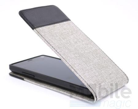 iPhone 8 Plus Vertikal Stoff Leder Hülle Etui Cover Case Tasche Canvas Kartenfach GRAU – Bild 1