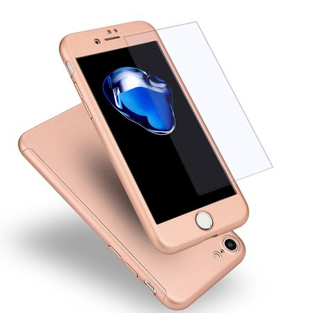 iPhone 8 Plus Komplett Schutz Case + Panzerglas Full Protection Cover Hülle ROSÉGOLD – Bild 1