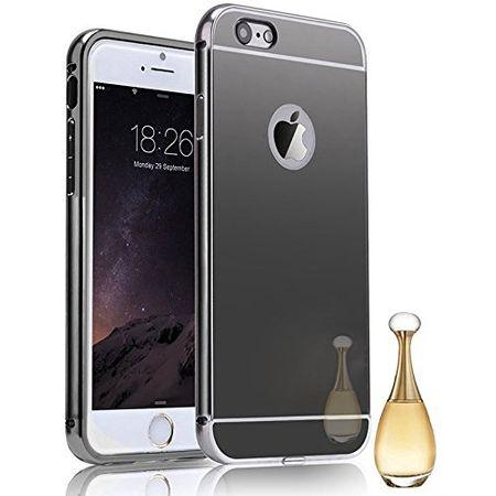 iPhone 8 Plus Alu-Bumper Mirror mit Spiegel-Rücken Metall Bumper Case Hülle Aluminium SCHWARZ – Bild 1