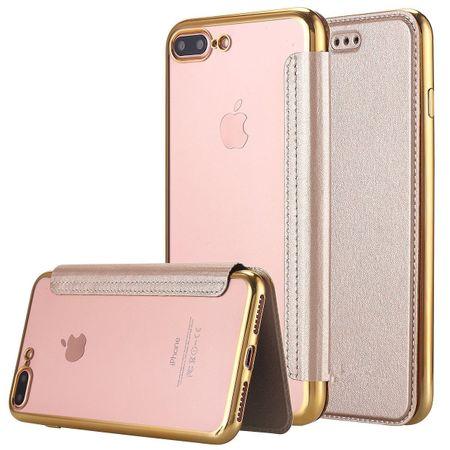 iPhone 8 Plus Leder Etui Hülle Flip Case GOLD – Bild 1