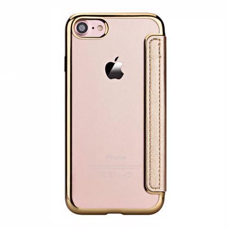 iPhone 8 Plus Leder Etui Hülle Flip Case GOLD – Bild 5