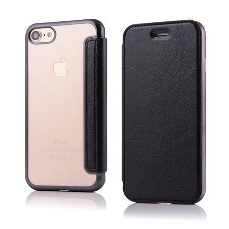 iPhone 8 Plus Leder Etui Hülle Flip Case SCHWARZ – Bild 2