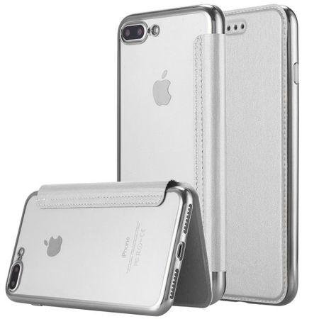 iPhone 8 Plus Leder Etui Hülle Flip Case SILBER – Bild 1