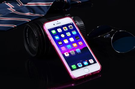 iPhone 8 Plus TPU Gummi Hülle Klar Silikon Crystal Clear Case PINK – Bild 3