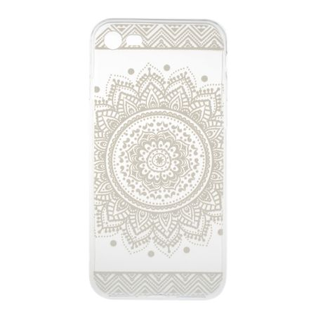 iPhone 8 Plus Indian Mandala Gummi TPU Silikon Case Hülle TRANSPARENT WEISS – Bild 3