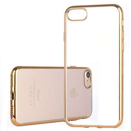 iPhone 8 Plus Metallic Gummi TPU Silikon Case Hülle Schutzhülle Cover Klar GOLD – Bild 2