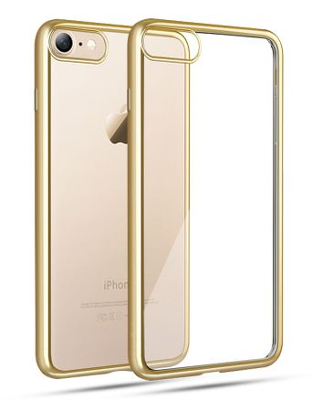 iPhone 8 Plus Metallic Gummi TPU Silikon Case Hülle Schutzhülle Cover Klar GOLD – Bild 1