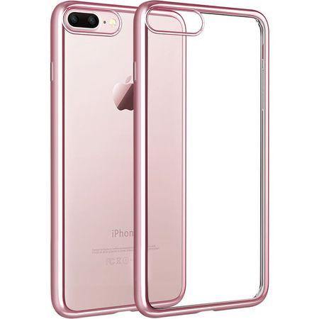 iPhone 8 Plus Metallic Gummi TPU Silikon Case Hülle Schutzhülle Cover Klar ROSÉGOLD – Bild 1