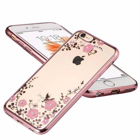 iPhone 8 Plus Glitzer Blumen Hülle TPU Silikon Case PINK Roségold – Bild 3